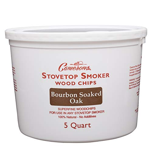 Smoking Chips - (Bourbon Soaked Oak) Kiln Dried, 100% Natural Extra Fine Wood Smoker Sawdust Shavings - 5 Quart Barbecue Chips
