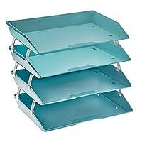 Acrimet Facility 4 Tier Letter Tray Side Load Plastic Desktop File Organizer (Solid Green Color)