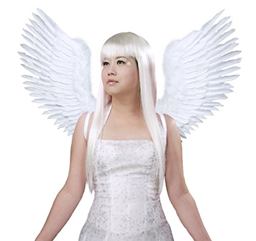 FashionWings (TM) White Open Swing V Shape Costume Feather Angel Wings Adult Unisex]()