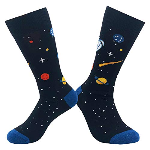 61f49794f9ac KoolHour Men's Casual Crew Socks Crazy Cool Funky Planet Universe Fashion  Pattern Cotton Soft Novelty Dress
