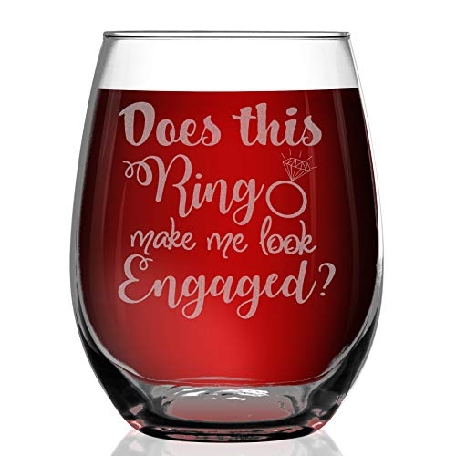 Shop4Ever Does This Ring Make Me Look Engaged? Laser Engraved Stemless Wine Glass ~ Funny Engagement Wedding Bridal Party Gift for Her Future Mrs Fiance Bride to Be ~ (15 oz, Stemless)