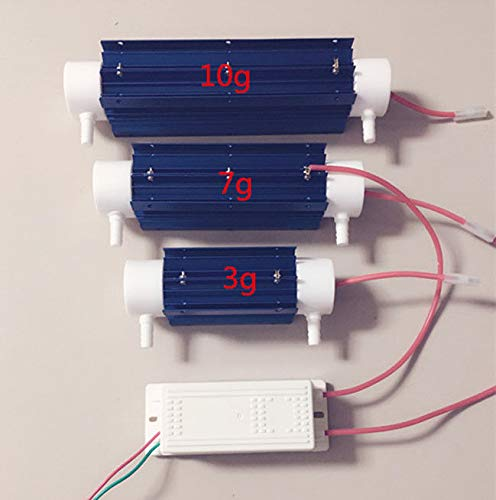 TOPCHANCES High Capacity Ozone Generator Tube Air Purifier Water Treatment Quartz Tube + Power Supply for DIY Water Plant Purifier 110V (10g)