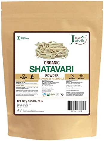 Just Jaivik 100% Organic Shatavari Powder, USDA Organic, 1/2 Pound / 227g, Asparagus Racemosus, Rejuvenative for Vata and Pitta That Promotes Vitality and Strength.