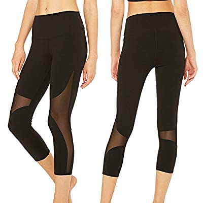 CROSS1946 Sexy Women's Mesh Yoga Fitness cropped Pants Soft Tummy Control Leggings Waistband Workout Capris