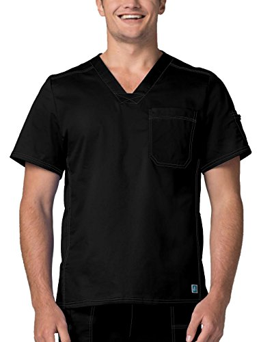 - Adar Pop-Stretch Mens Contemporary Vneck Top - 3214 - Black - 2X