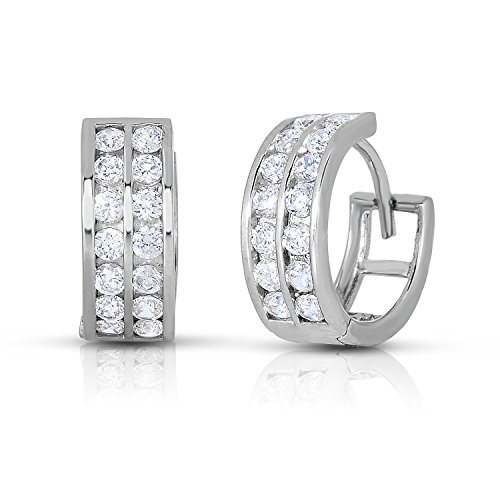 - Sterling Silver Double Row Channel-set Round CZ Huggie Hoop Earrings