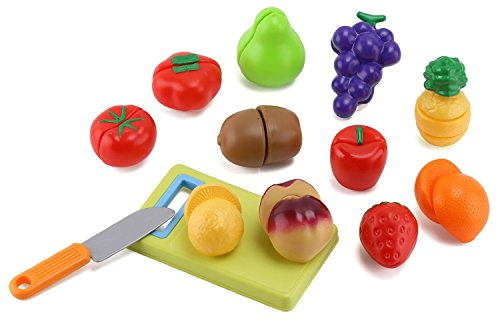 Click n' Play 12 pc Kids Pretend Play Cutting Fruit Toy Set, Food Playset with Cutting Board and Knife with Carrying Case for Safe Storage (Play Food Fruit compare prices)