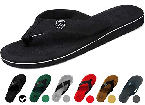 MERFUNTO Unisex Flip Flops for Men and Women Classical Thong Sandals Arch Support Beach Slippers (Black/Grey/Yellow/Red/Green/Brown) NRT01-M1-42