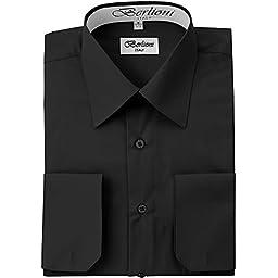 Men\'s Dress Shirt - Convertible French Cuffs - Black, XL, 34/35 Sleeve