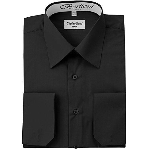 Berlioni Men's Dress Shirt - Convertible French Cuffs - Black, 3X-Large (19-19.5), 36/37 Sleeve