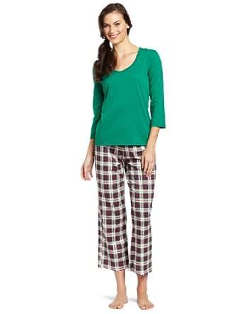 Nautica Sleepwear Women's Tarten Plaid Pajama Sleep Set, Green, X-Small