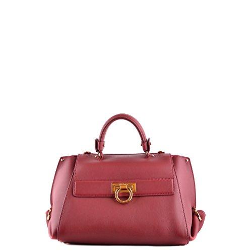 Salvatore Ferragamo women's leather handbag shopping bag purse sofia red