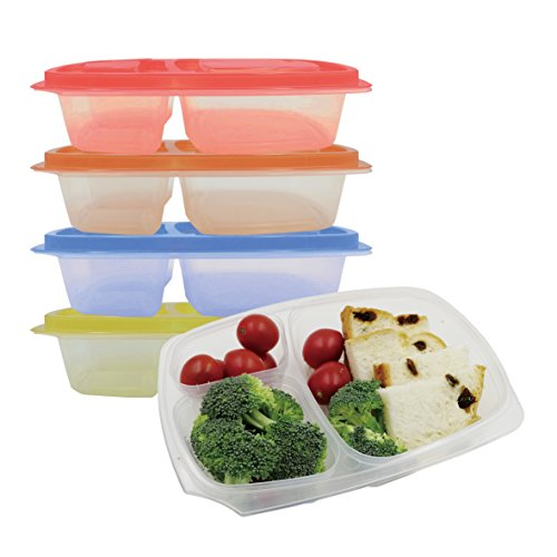 Prefer Green 3-Compartment Bento Lunch Box Containers, Leakproof, Food Storage Containers,36 oz, Set of 4 (Colorful) (Pink Set Glass Dressing Table)