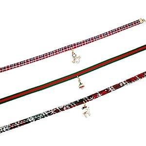 Best Epic Trends 41v4wHpgKqL._SS300_ OFGOT7 3 Pcs Adjustable Classic Christmas Choker Necklace Sets Cotton Metal Pendant Making Chains Vintage Lolita Styles…