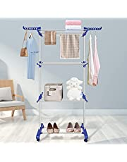Innotic Clothes Drying Rack 3-Tier Rolling Collapsible Garment Stainless Foldable Laundry Dryer Hanger Rack Rail Stand with Side Wings and Casters Indoor