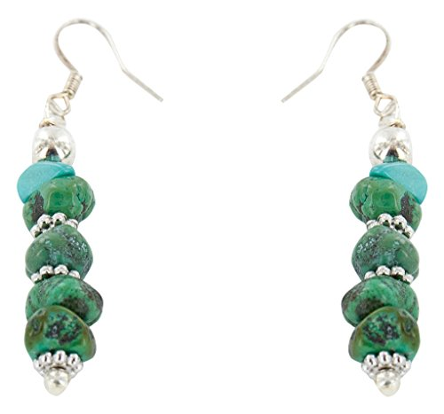 Native-Bay Authentic Made by Charlene Little Navajo Silver Hooks Natural Turquoise American Earrings