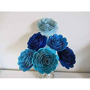 Half Dozen Ombre Blue Paper Flowers, 3 Inch Rose Blooms on Stems, Floral Picks, Blue Theme Bouquet 63