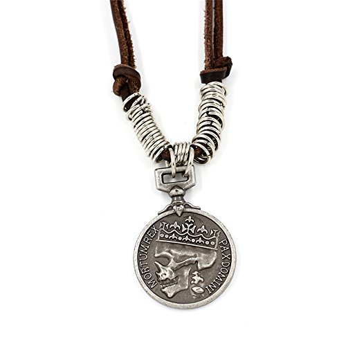 Leather Skull Pendant (Men's Vintage Crown Skull Pendant Steam Punk Necklace Black Leather Chain Cord Adjustable Necklace 18'' to 32'')