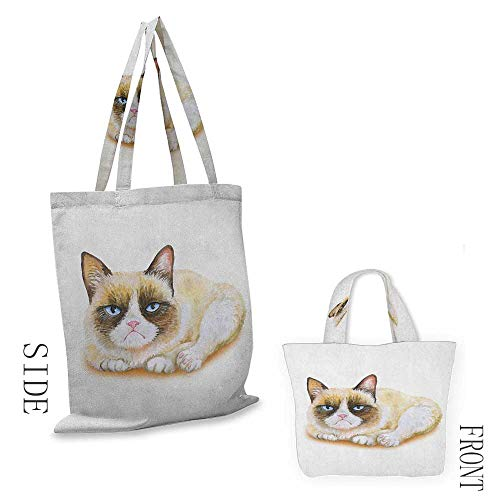 Tote bag AnimalGrumpy Siamese Cat Angry Paws Asian Kitten Moody Feline Fluffy Love Art Print Brown and Beige18