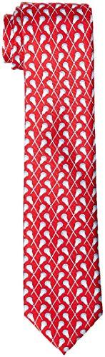 (Lacrosse Silk Necktie Boy's Tie - 100% Silk Lacrosse Gift Designer Sports Neck Tie (Crossed Sticks) – Red)