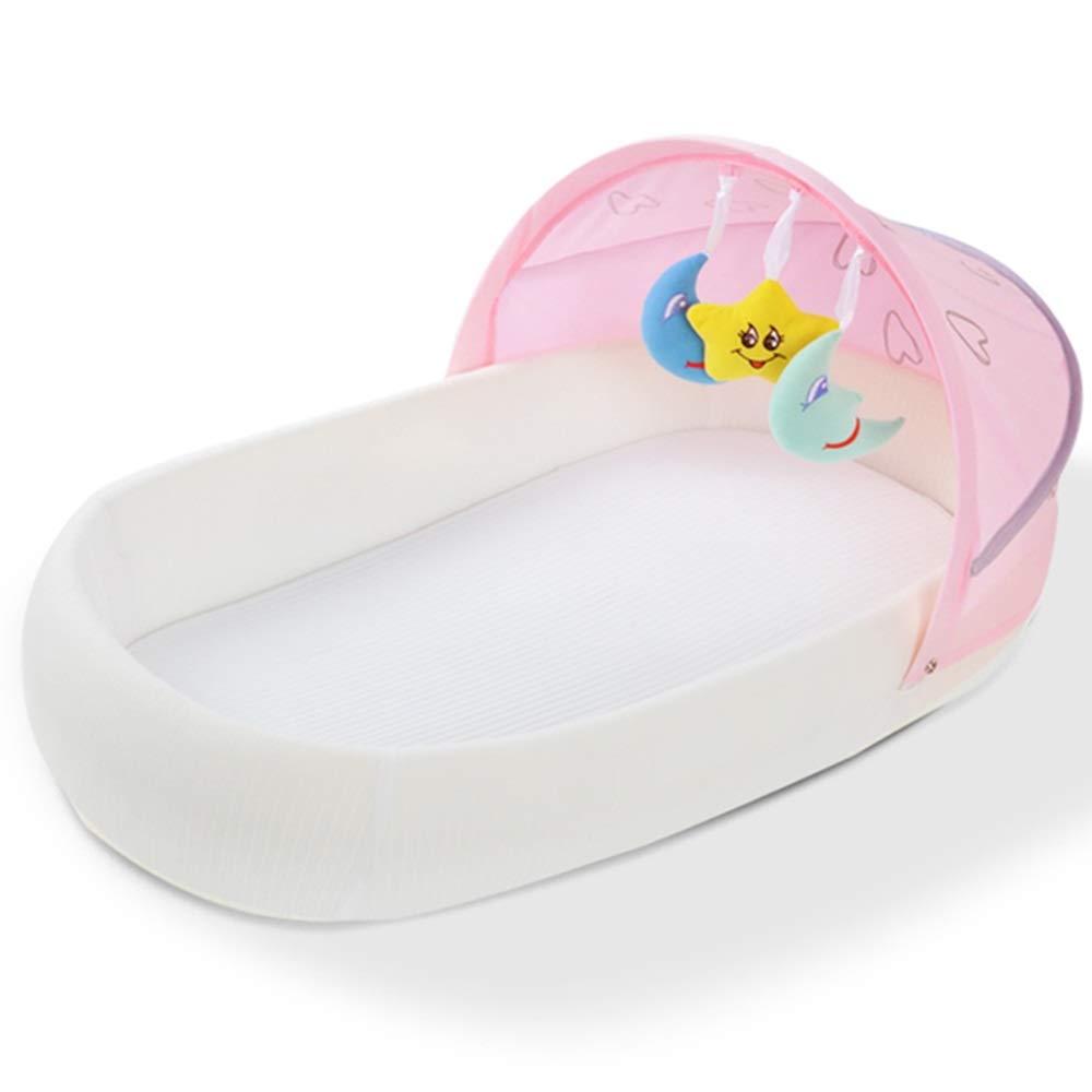 HANSHAN ベビーベッド ベビーベッド、ベビーベッドベッドポータブル折りたたみベッド新生児多機能バイオニックベッドベッド圧力2色0-1歳33×13×5インチ (色 : ピンク)  ピンク B07RFH9NZF
