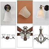 Anmytek 3 Pack Bell Shaped Alabaster Glass Lamp