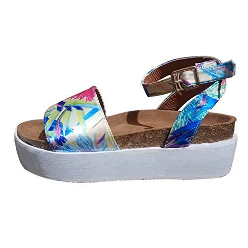 - Woman Roman Weaved Wedged Sandals High Waterproof Platform Sandals Ankle Strap Buckle Peep Toe Slingback Beach Shoes (Multicolor, 9 M US)