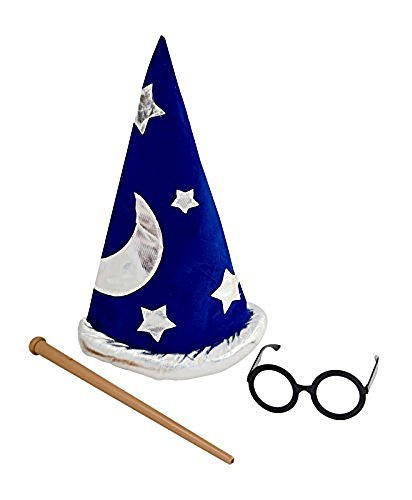 Booboolala Child's Wizard Costume Accessory Set! Hat, Wand, and Glasses! Great for Halloween!