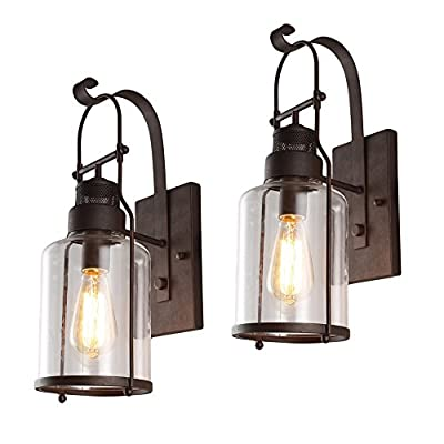 "Cage Glass Wall Sconce, Motent 5.9"" Vintage Industrial Retro Iron Glass 1-Light Wall Lantern Antique Minimalism Rubbed Bronze Finish Cage Box Wall Lampshade for Bedside Light Porch Restaurant - Black"
