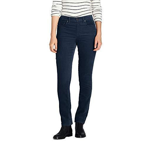 Lands' End Women's Tall Mid Rise Straight Leg Corduroy Pants, 16 34, Radiant Navy
