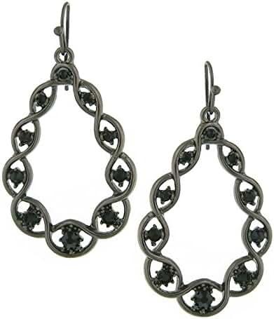 Black Crystal Open Teardrop Earrings
