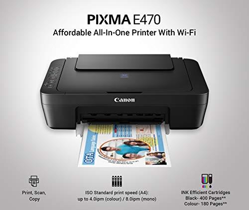 Canon Pixma E470 All-in-One Inkjet Printer (Black)