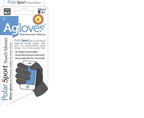 (Agloves Polar Sport Unisex Touchscreen/Smartphone Gloves, Fleece Lined Interior For Comfort & Warmth, Compatible with: iPhone, Android, iPad & Nexus - S/M Black)