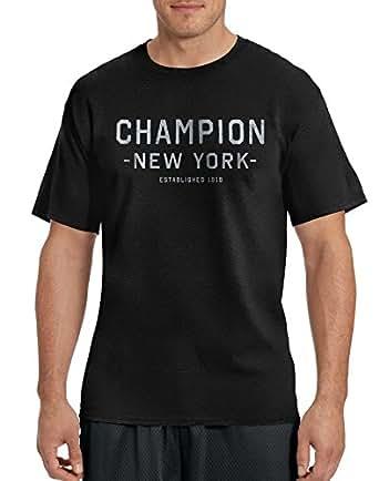 Champion Men`s Cotton-Rich Graphic T Shirt, GT81, S, Black/Champion