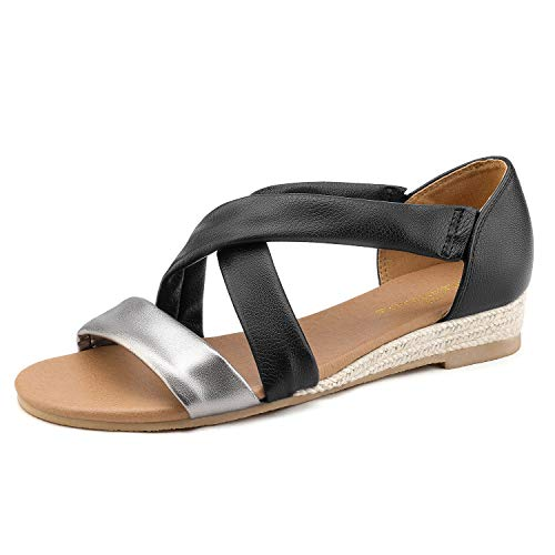 - DREAM PAIRS Women's Pewter Black Low Wedge Sandals Dress Sandals Size 9.5 M US Formosa_8
