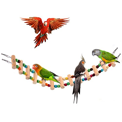 Colorful Bird Ladder Bridge by SunGrow - Helps Birds with Balance: Bright, Durable & flexible: Made with Natural wood & edible dye : Easy Installation: Ideal Exercise & Fun accessory - Dye Hinge Frame