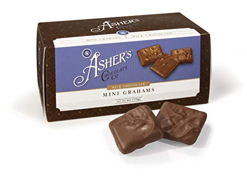 - Asher's Chocolate Company, Delicious Kosher Mini Grahams, Made from the Finest Chocolate, Small Batches, Family Owned Since 1892, Snack Size Box (6 oz, Milk Chocolate)