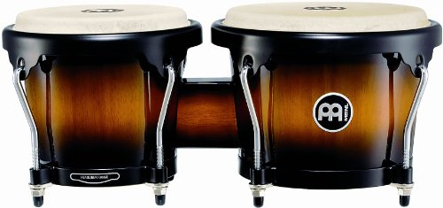 Meinl Percussion HB100VSB Standard Size Rubber Wood Bongos with Natural Skin Heads, Vintage Sunburst - Bongos Wood