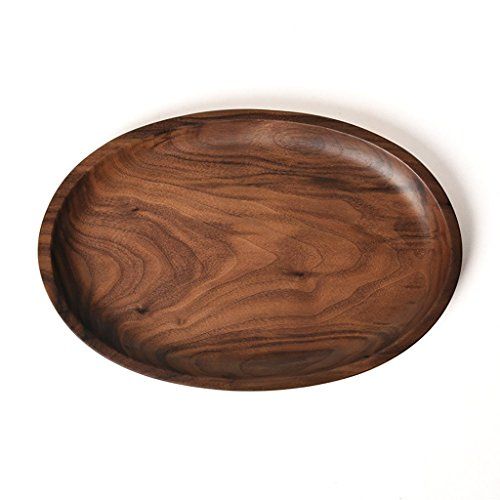 (Solid Wooden Serving Tray,Decorative Trays,Serving Platters for Food Fruit Tea Coffee Wine Premium Quality, Eco-friendly, Oval-Shaped - Black Walnut)