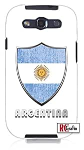 Premium Argentina Flag Badge Direct UV Printed Unique Quality Hard Snap On Case for Samsung Galaxy S3 SIII i9300 (WHITE)