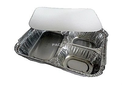 Handi-Foil 3-Compartment Aluminum Foil Take-Out Meal Pan w/Board Lid Combo (Pack of 50)