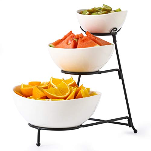 3 Tier Oval Bowls with Metal Rack,Food Server Display Stand, Three Serving porcelain Bowls set,Dessert Appetizer Snack Server