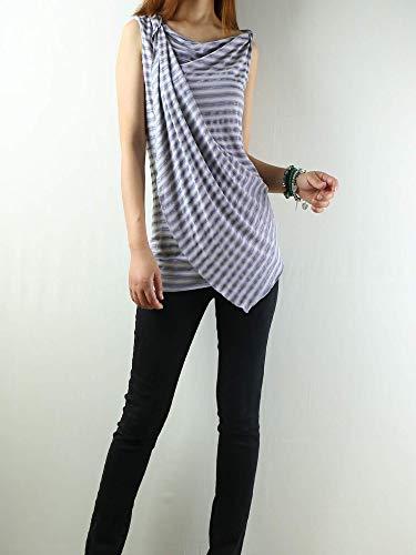 Women's Asymmetrical Modal Cotton Draping Slip Top Grey Stripes (Asymmetrical Draping)