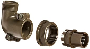 Amphenol Industrial 97-3108B-14S-6P Circular Connector Pin, Threaded Coupling, Solder Termination, Angle Plug, Split Backshell, 14S-6 Insert Arrangement, 14S Shell Size, 6 Contacts