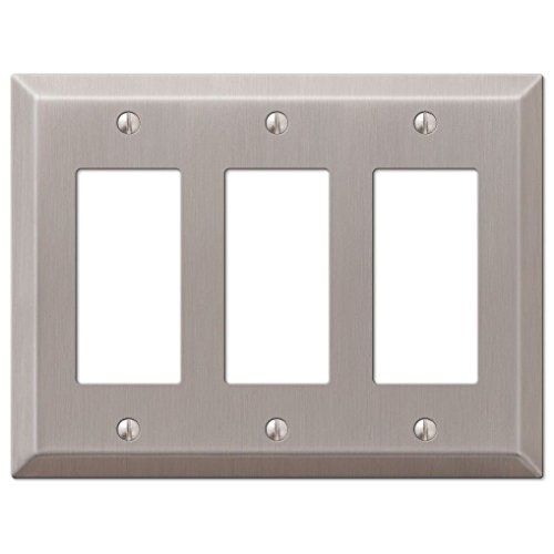 Wall Switch Plate Outlet Cover Toggle Duplex Rocker - Brushed / Satin Nickel - Brushed Nickel Triple Rocker