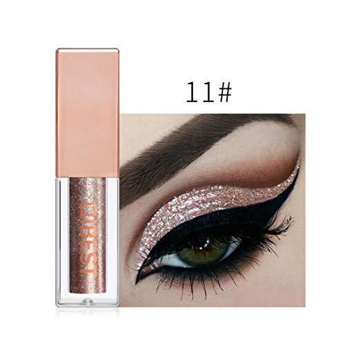 CYCTECH 15 Colors Metallic Shiny Smoky Eyes Eyeshadow High Pearl Smoky Waterproof Glitter Liquid Eyeliner (K) ()
