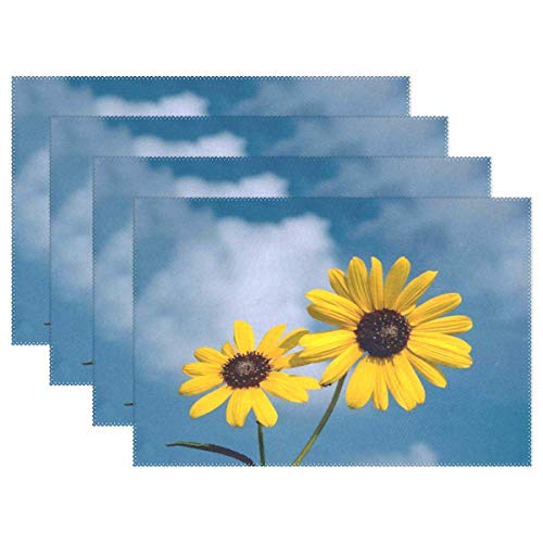 Promini Heat-Resistant Placemats, Sunflowers Flowers Yellow Helianthus Sun Nature Washable Polyester Table Mats Non Slip Washable Placemats for Kitchen Dining Room Set of 4