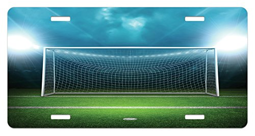 Ambesonne Soccer License Plate, Soccer Goal Post Sports Area Winner Loser Line Floodlit Best Team Finals Game Theme, High Gloss Aluminum Novelty Plate, 5.88