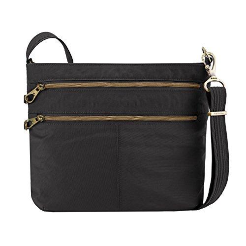 Travelon Anti-theft Signature Double Zip Cross Body Bag, Black (Travelon Anti Theft Signature 3 Compartment Crossbody Black)
