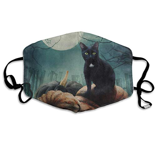 ZHOUSUN Dustproof Anti-Bacterial Washable Reusable Halloween Black Cat On Pumpkin Full Moon Mouth Cover Mask Respirator Germ Protective Breath Healthy Safety Warm Windproof Mask